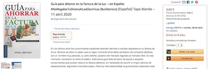 Guía para ahorrar en la factura de la luz —en España | #NoRegalesTuDineroAlasElectricas (pantallazo amazon edición papel tapa blanda)