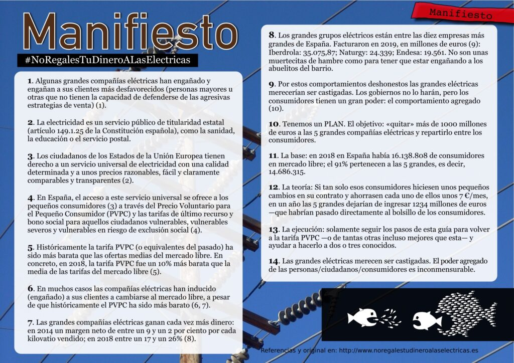 Manifiesto #NoRegalesTuDineroALasElectricas (version díptico)
